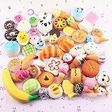 Pursuestar 10Pcs Random Kawaii Mini Soft Squishy Foods Panda Bread Bun Toasts Multi Donuts Phone Straps Charm...
