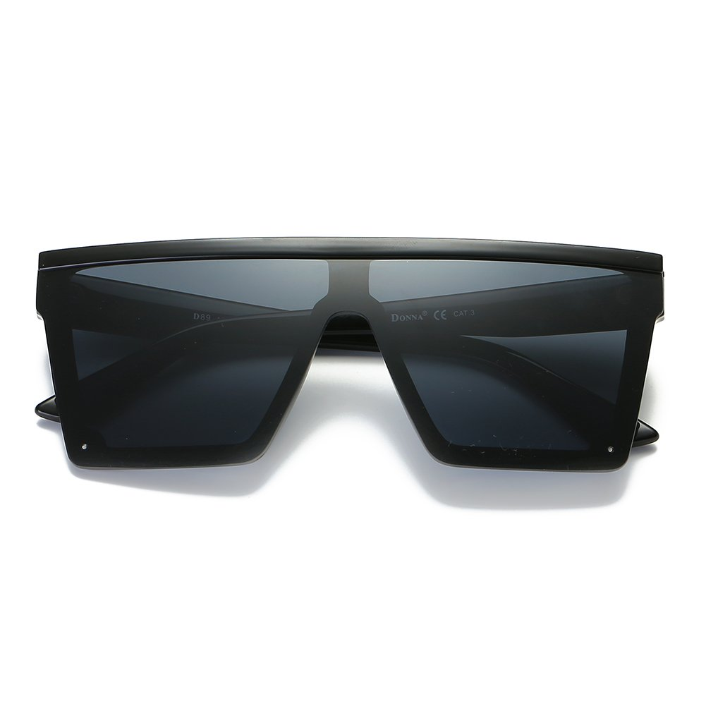 c239a07755a24 Amazon.com  DONNA Cool Unisex Oversized Flat Top Sunglasses Square Aviator  Shades D89(Glossy Black)  Clothing