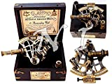 Sara Nautical Brass Ship History Sextant with Hardwood Box. C-3082