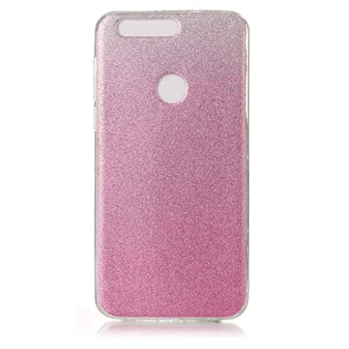 Price comparison product image For Huawei Honor 8 Case [With Tempered Glass Screen Protector],Metatze Soft Silicone Gel TPU Thin Slim Glitter Gradual Colour Changing Protective Rubber Bumper Case Cover Shell (Pink)