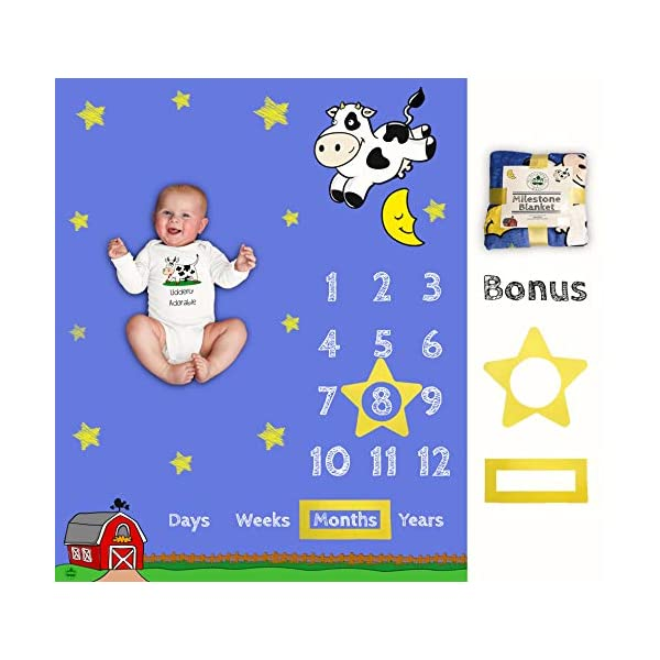 Baby Monthly Milestone Blanket   Soft Large Backdrop   Bonus Star & Box Frame   Best Baby Shower Gift for New Mom   Newborn Photo Memory   Cow Jumped Over The Moon   Boy Girl   Barn Days Weeks Years