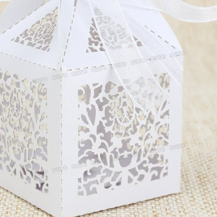 Daisy Closet 50 Pack White Vine Filigree Cut Favor Candy Box Bomboniere with Ribbons Wedding Bridal Shower Party Favors