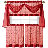 Linen Leaf Embroidered Sheer Kitchen Curtain Set - Assorted Colors (Red)