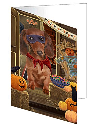 Enter at Own Risk Trick or Treat Halloween Dachshund Dog Note Card NCD63344 (10)]()