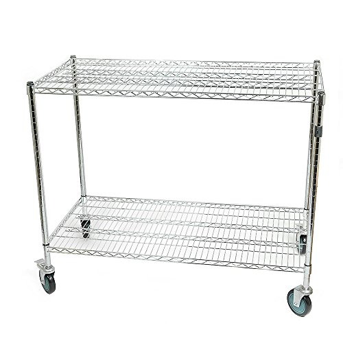 Wipick Large Warehouse Store Stock Picker Service Car Heavy Duty 1000 lbs Capacity 48x24.5x40 Inch All Purpose Chrome Wire Utility Cart with 2 Lockable 5 Inches Swivel Casters by Fasthomegoods