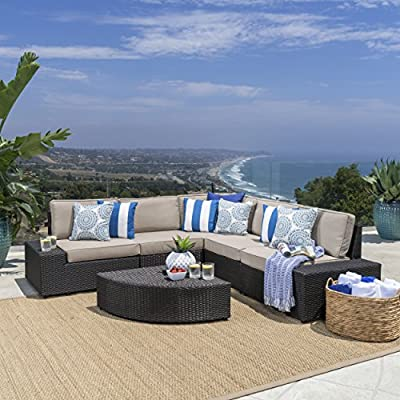 Christopher Knight Home 214311 Reddington Outdoor Wicker Furniture Set, Sectional and Table for Pati - 6-Piece sofa set: our 6-piece sofa set with cushions will meet all your outdoor furniture needs. This high-class lounge set includes a 5-piece sectional with 1 corner section, 2 armless chairs, and 2 end pieces, and a small triangular Wicker Table with one round edge. It fits perfectly with the l-shaped sofa. Water-resistant cushions: at Great Deal Furniture, we bring you the best outdoor furniture available. Our large Beige polyester seat cushions, which fit perfectly on our Wicker sectional, are made of a tough, yet soft, water-resistant fabric. This gives them protection from weather elements without needing an additional cover. The cushions Are removable and washable. High-quality wicker: to give your space A classic Bay feel, we created our reddington furniture set with durable, faux Wicker that is easy to Care for and built to last. The black-brown Wicker makes up the base of the sofa, which is the same material as the table and end pieces. - patio-furniture, patio, conversation-sets - 51hjpawJxTL. SS400  -