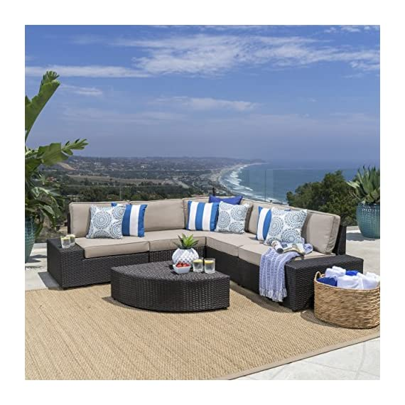 Christopher Knight Home Santa Cruz Outdoor Wicker Sectional Sofa Set with Water Resistant Cushions, 6-Pcs Set, Brown - 6-Piece sofa set: our 6-piece sofa set with cushions will meet all your outdoor furniture needs. This high-class lounge set includes a 5-piece sectional with 1 corner section, 2 armless chairs, and 2 end pieces, and a small triangular Wicker Table with one round edge. It fits perfectly with the l-shaped sofa. Water-resistant cushions: at Great Deal Furniture, we bring you the best outdoor furniture available. Our large Beige polyester seat cushions, which fit perfectly on our Wicker sectional, are made of a tough, yet soft, water-resistant fabric. This gives them protection from weather elements without needing an additional cover. The cushions Are removable and washable. High-quality wicker: to give your space A classic Bay feel, we created our reddington furniture set with durable, faux Wicker that is easy to Care for and built to last. The black-brown Wicker makes up the base of the sofa, which is the same material as the table and end pieces. - patio-furniture, patio, conversation-sets - 51hjpawJxTL. SS570  -