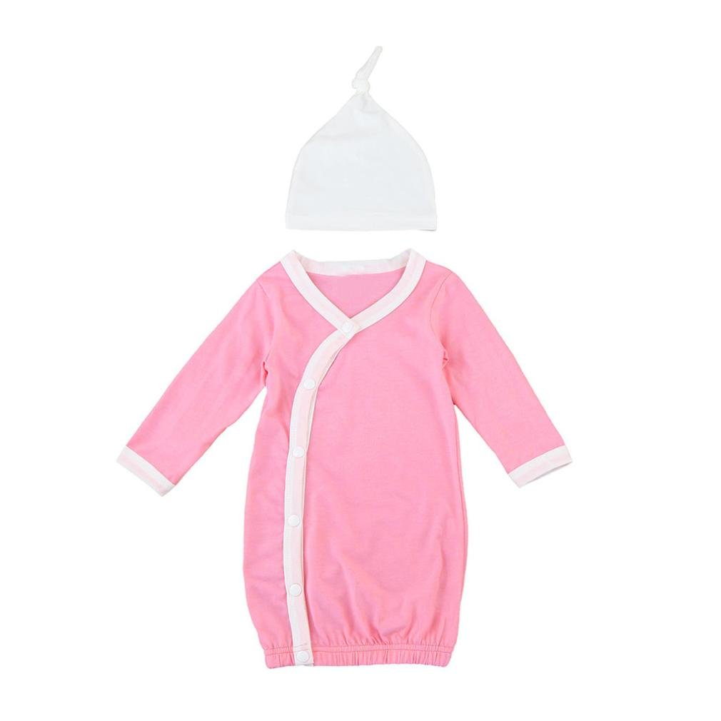 oldeagle Lovely Infant Baby Girls Boy Long Sleeve Pajamas Gown Swaddle Sleeping Bag Hats 2Pcs Outfits Set