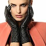 Warmen Women's Lambskin Leather Plush Lined Long Winter Gloves Sleeves (L, Black (Touchscreen Feature))
