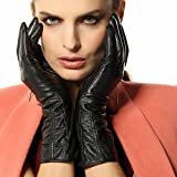 Warmen Women's Lambskin Leather Plush Lined Long Winter Gloves Sleeves (L, Black (Touchscreen Feature))