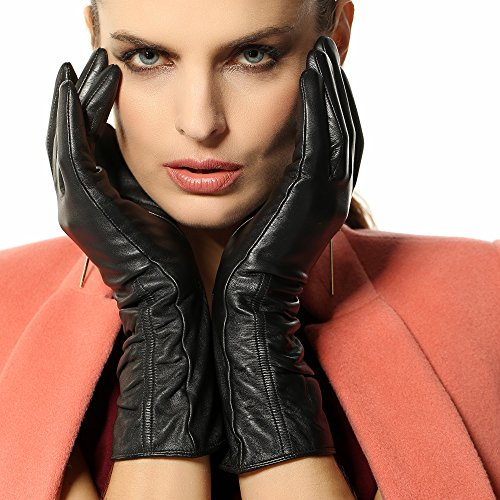 (Warmen Women's Lambskin Leather Plush Lined Long Winter Gloves Sleeves (M, Black (Touchscreen Feature)))