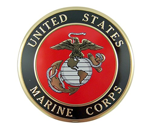 United States Military Marine Corps Metal Auto Decal Emblem, 4 Inch ()