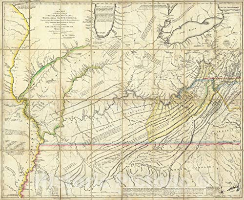 Historic Map | Case Map, The Western Parts of Virginia, Pennsylvania, Maryland and North Carolina. 1778 | Vintage Wall Art | 24in x 20in