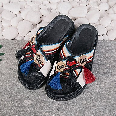 LvYuan Mujer Sandalias Confort Goma Verano Paseo Confort Talón de bloque Blanco Negro Menos de 2'5 cms White