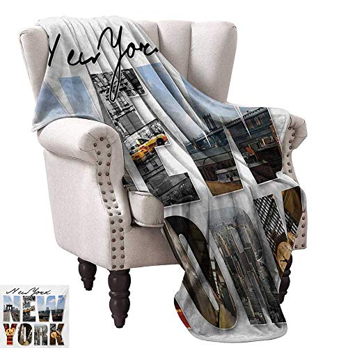 WinfreyDecor New York Decorative Throw Blanket New York City Collage Featuring with Different Areas of The Big Apple Manhattan All Season for Couch or Bed 36