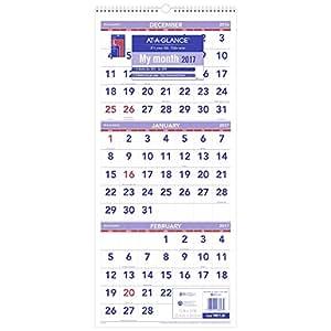 at a glance wall calendar 2017 three month view 14 months december start 12 x. Black Bedroom Furniture Sets. Home Design Ideas