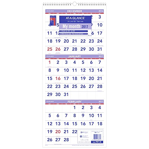At A Glance Wall Calendar 2017  Three Month View  14 Months  December Start  12 X 27  Wirebound  Pm11 28