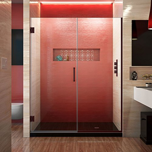 Bronze Frameless Shower Door - DreamLine Unidoor Plus 58-58 1/2 in. W x 72 in. H Frameless Hinged Shower Door, Clear Glass, Oil Rubbed Bronze, SHDR-245807210-06