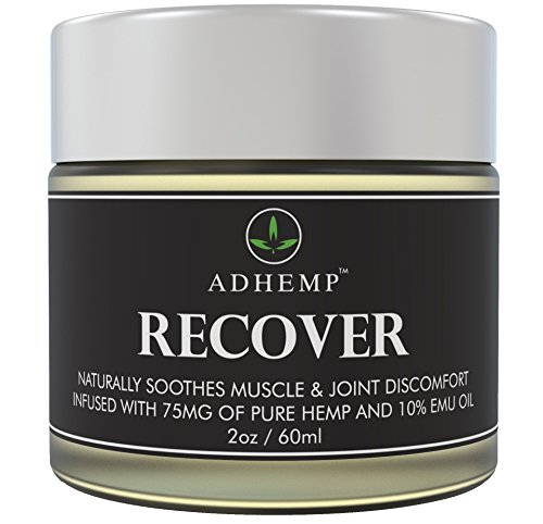 ADHEMP Recover Natural Hemp Oil Pain Relief Cream for Arthritis, Back, Knee, Hands, Neck, Feet, Muscle Soreness, Inflammation, Joints, Carpal Tunnel - Pure Hemp, 10% Emu Oil, Arnica- 2 oz by ADHEMP