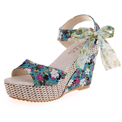 (Dreamyth Women Summer Platform Floral Lace Bowknot Sandals Countryside Maid Wedge Shoes (4.5, Green))