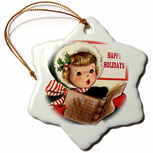 3dRose orn_172780_1 Little Girl Christmas Caroler Wishing Happy Holidays Snowflake Ornament, Porcelain, 3-Inch Cartoon Christmas Carolers