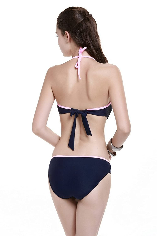LE BESI Women's Fashion Three Piece Elegant Inspired Swimsuit Bandeau Bikini