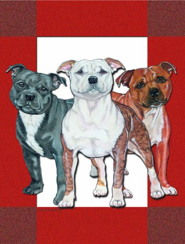 Cottage Staffordshire (Discontinued Item: Staffordshire Bull Terrier Flag Garden Size)