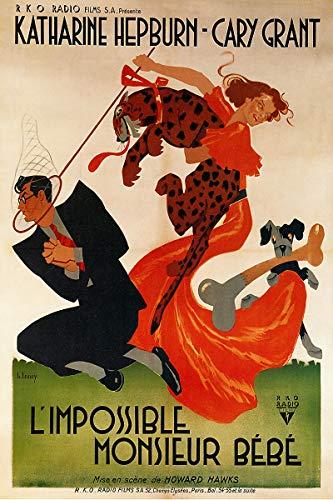American Gift Services - Bringing Up Baby L'Impossible Monsieur Bebe Vintage Katherine Hepburn Cary Grant Movie Poster Print - 24x36