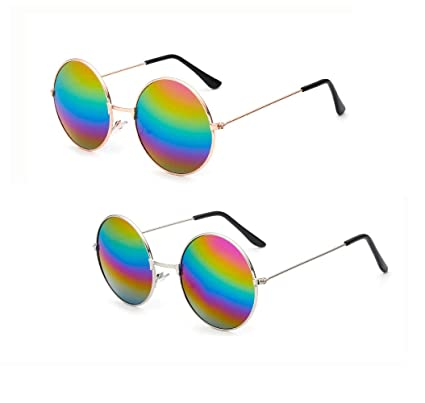 cec2214cac5a Penta Angel 2Pcs Colored Round Retro Hippie Sunglasses Vintage 60's 70's Style  John Lennon Circle Glasses