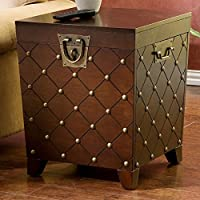 Espresso End Table/trunk with Decorative Nailheads