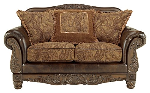 Ashley Furniture Signature Design - Fresco Loveseat with 3 Pillows - Ornate Frame - Grand Elegance - Antique Brown