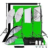 CanadianStudio Photography Studio 1400 watt Continuous Lighting Umbrella softbox Light Black/White/green High Key Muslin Backdrop Stand Kit for Video Photo Portrait
