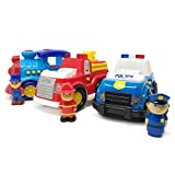 BOLEY Cars for Toddlers - Educational Light and Sound Toy Vehicle Playset with Fire Truck, Train and Police Car - Set of 3