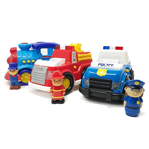 - Boley 3 Pack Emergency Vehicle and Train Set - Educational Light and Sound Toy Vehicle Playset - Includes Firetruck, Toddler Train Toy and Police Car Toy