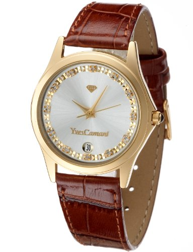 Yves Camani Golden Twinkle Women's Quartz Watch with Silver Dial Analogue Display and Brown Leather Strap 302-GBR