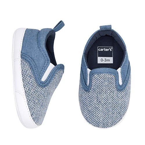 Chambray Crib - Carter's Boy's Slip On Shoes Crib, Chambray, Basket Weave Body, 0-3 Months, Size 1 Regular US Infant