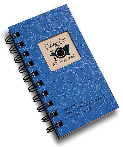 Dining Out, A Restaurant Journal - MINI Blue Hard Cover (prompts on every page, SPACE FOR 80 RESTAURANTS! recycled paper, read - Journal Restaurant
