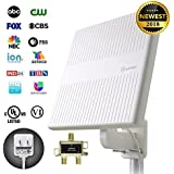 ANTOP Outdoor TV Antenna Multi Directional Reception UHF/VHF Reception Enhanced Built-in 4G LTE Filter, 65 Miles Range, 2 TVs Signal Splitter & 16ft Detachable Coaxial Cable, White