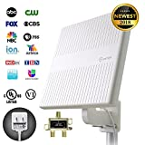 omni directional hd antenna - ANTOP 65 Miles Outdoor TV Antenna with 360° Omni Directional, 16ft Cable and Signal Splitter for 2 TVs, HDTV Antenna with Detachable SmartPass Amplifier, Suitable for Balcony/Rooftop/Attic/RV/Marine