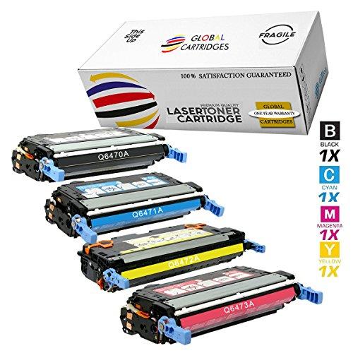 GLB Premium Quality Remanufactured Replacement for HP 501A/502A HP 3600 Toner Cartridge Set Q6470A Q6471A Q6472A Q6473A (Black, Cyan, Yellow, Magenta) - Hp Q6473a Magenta Laser