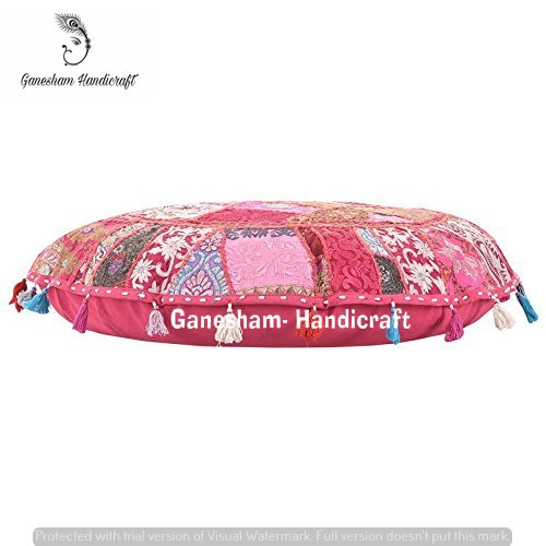 GANESHAM Indian Handmade Vintage Patchwork Home Decorative Hippie Cotton Boho Chic Bohemian Hand Embroidered Ethnic Foot stool Round Floor Pillows Cover Seating Pouf Ottoman