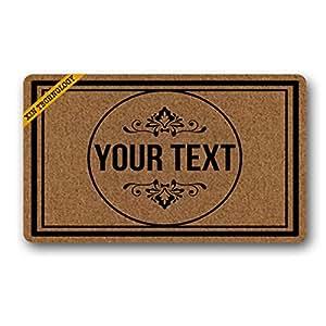 """Artsbaba Doormat Personalized Your Text Door Mat Black Frame Doormats Monogram Non-Slip Doormat Non-woven Fabric Floor Mat Indoor Entrance Rug Decor Mat 30"""" x 18"""""""