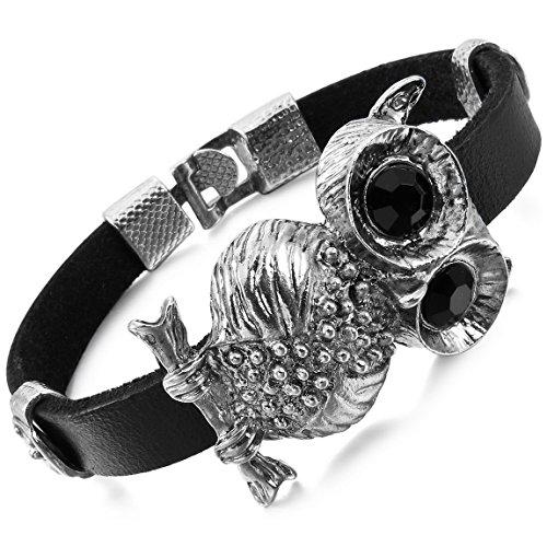 INBLUE Men,Women's Alloy Genuine Leather Bracelet Bangle Cuff Silver Tone Black Owl Knight Fleur De Lis