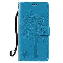 NEXCURIO [Embossed Tree] Google Nexus 6P Wallet Case with Card Holder Folding Kickstand Leather Case Flip Cover for Google Nexus 6P (Blue)