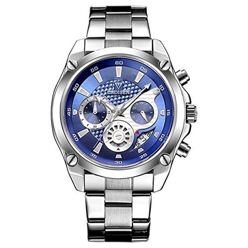 CADISEN Men's Quartz Fashion Sport Calendar Date Unique Sub-Dial Design Military Luxury Waterproof Wrist Watches with Black/White Stainless Steel Strap
