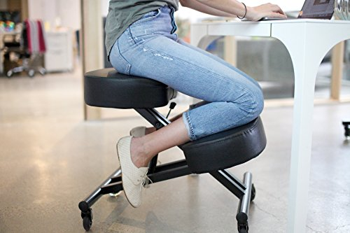 Sleekform Kneeling Posture Chair | Adjustable Ergonomic Office Stool with Rollerblade Wheels for Computer Work, Gaming, Meditation and Back Relief | Black Faux Leather
