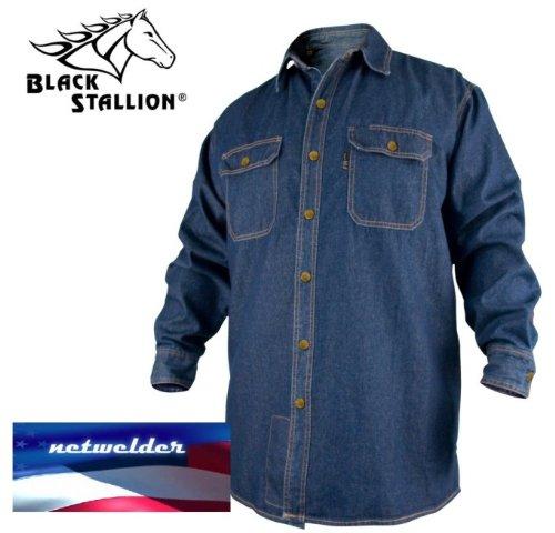REVCO BLACK STALLION FR FLAME RESISTANT DENIM WORK SHIRT - FS8-DNM LARGE by Black Stallion (Image #1)