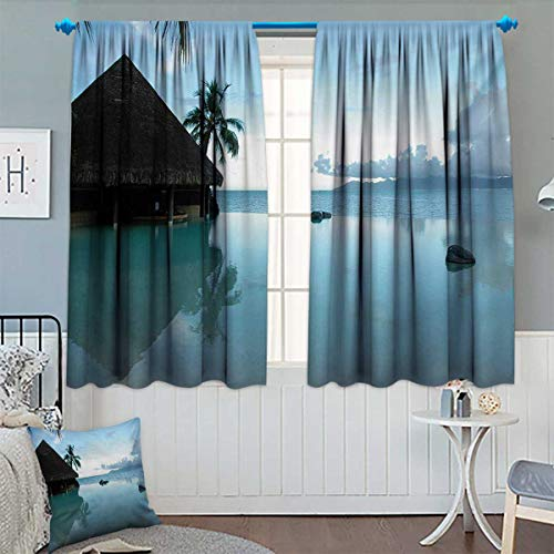 - Landscape Thermal Insulating Blackout Curtain Rock Pool Part of The Sea Mystical Serene Nature with Old Wooden House Scenery Patterned Drape for Glass Door 63