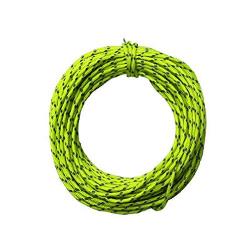 Shinetrip Nylon Guyline Tent Rope Camping Cord - Intensity Reflective at Night, 50 Feet,Fluorescent Green ()