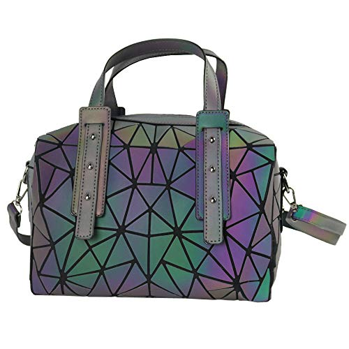Women's Geometric Luminous Handbags Holographic Top Handle Satchel Tote Shoulder Bag Purses with Zipper Closure Messenger Bags (colorful2)